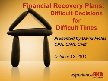 Financial Recovery Plans: