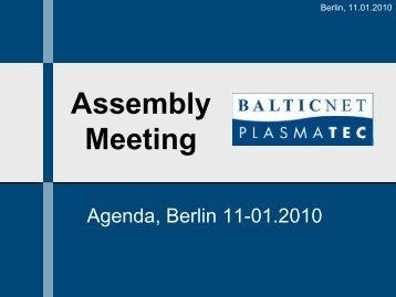Agenda - BalticNet - PlasmaTec