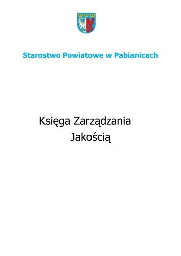 Księga Zarządzania Jakością - Powiat Pabianicki - Pabianice