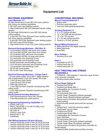 Equipment List - Contract Manufacturing of Nitinol Medical Devices