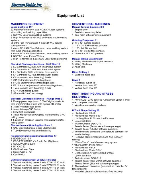 Equipment List - Contract Manufacturing of Nitinol Medical