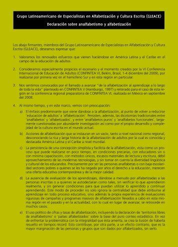 grupo Latinoamericano de Especialistas en alfabetización y ... - Tarea