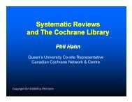 Systematic Reviews and The Cochrane Library - Queen's University