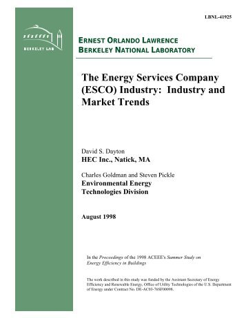 The Energy Services Company (ESCO) Industry - Environmental ...