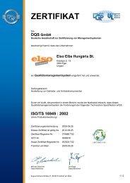 ZERTIFIKAT - Elbe Holding GmbH & Co. KG