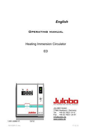 Operating manual ED - Julabo