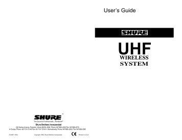 UHF Wireless System User Guide - Albinger Licht+Ton Technik GmbH
