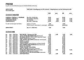 PREISE - Theater Senftenberg