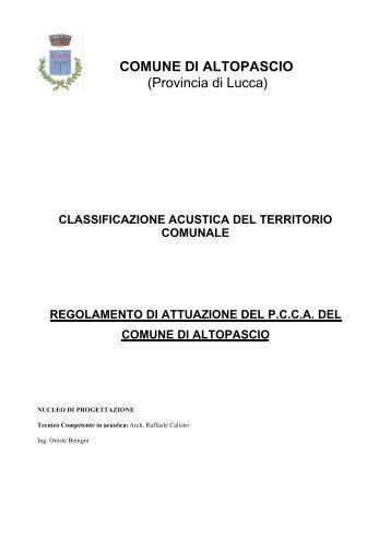 Regolamento attuazione Piano Zonizzazione Acustica - Comune di ...