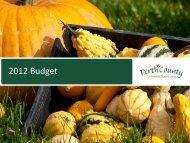 2012 Budget - Perth County