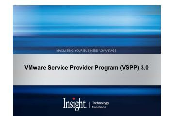 VMware Service Provider Program (VSPP) 3.0 - Insight