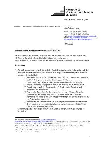 Jahresbericht der Hochschulbibliothek 2004/05 - Hochschule für ...
