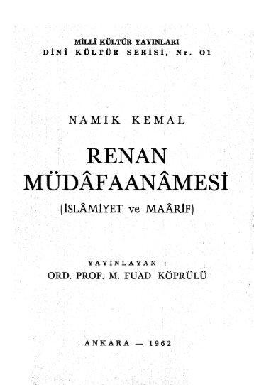 Namik Kemal (Fuad Koprulu) - Renan Mudafaanamesi (1962)