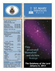 The Epiphany of the Lord January 6, 2013 - St Mary Immaculate Parish