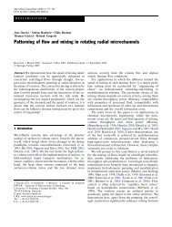 Patterning of flow and mixing in rotating radial microchannels