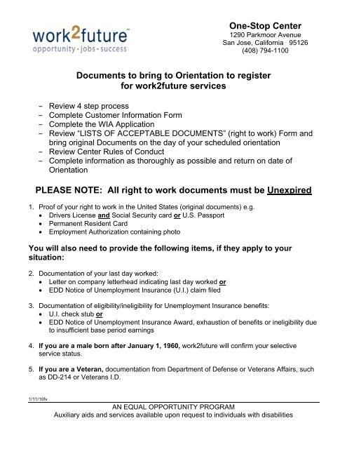 Orientation Packet - Work2Future