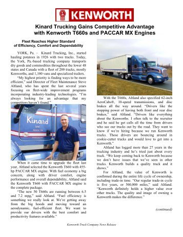 Kinard Trucking Gains Competitive Advantage with Kenworth T660s ...