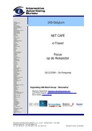 IAB-Belgium NET CAFÉ e-Travel Focus op de ... - IAB Community