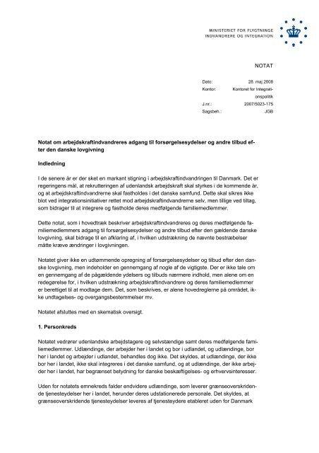 Notat om arbejdskraftindvandreres adgang til ... - Ny i Danmark