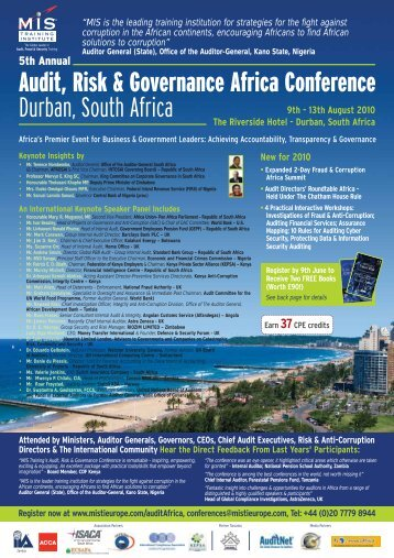 Audit, Risk & Governance Africa Conference Durban ... - MIS Training