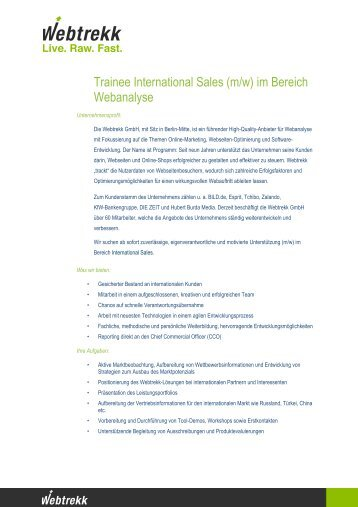 Trainee International Sales (m/w) im Bereich Webanalyse - Webtrekk