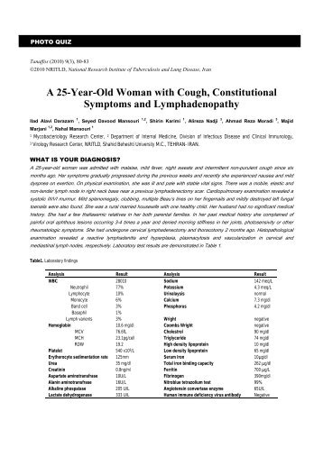 A 25-Year-Old Woman with Cough, Constitutional ... - Tanaffos