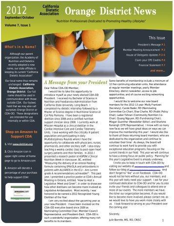 OD Newsletter - the California Dietetic Association!