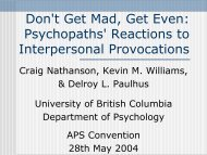 Psychopaths' Reactions to Interpersonal Provocations - University of ...