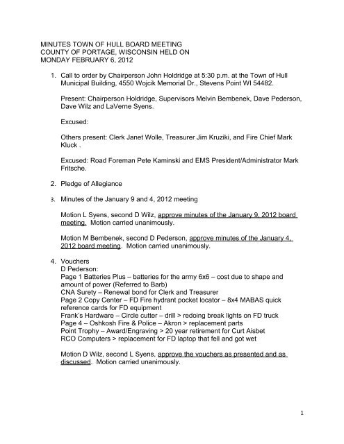 Board Minutes - February 6, 2012 - Town of Hull