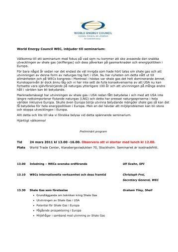 World Energy Council WEC, inbjuder till seminarium: Välkomna till ...