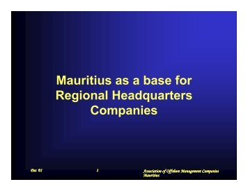 Mauritius as a base for Regional Headquarters Companies