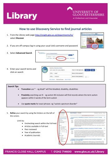 Using the Discovery Service to find journal articles