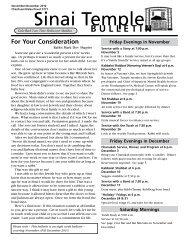 November-December Bulletin - Sinai Temple