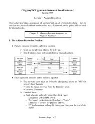 Lecture 4 - The Address Resolution Protocol (ARP)