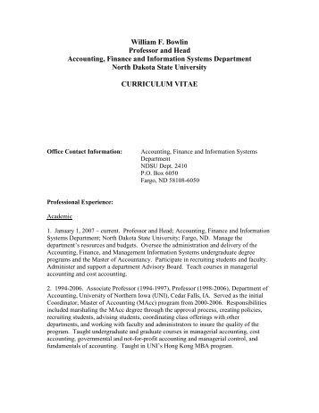 CURRICULUM VITAE - Academic Affairs