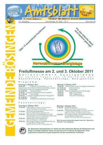 Freiluftmesse am 2. und 3. Oktober 2011 - der Gemeinde Bösingen