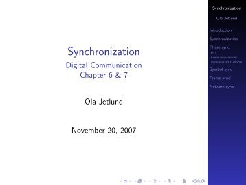 Synchronization - Digital Communication Chapter 6 & 7 - Unik