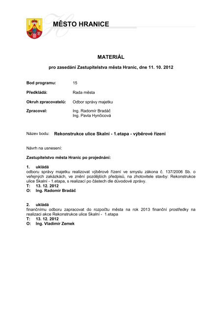 Rekonstrukce ulice Skalní - 1.etapa - výběrové řízení - Město Hranice