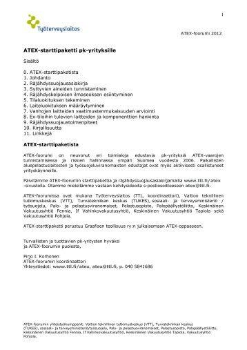 ATEX-starttipaketti pk-yrityksille (pdf) - Työterveyslaitos
