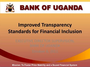 Improved Transparency Standards for Financial Inclusion