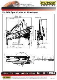 PK 3400 Specificaties en Afmetingen - Palfinger