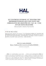 LE CONTROLE INTERNE AU TRAVERS DES REPRESENTATIONS ...