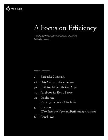 A Focus on Efficiency