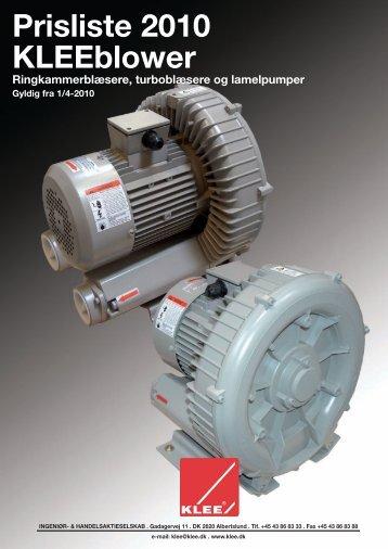 Prisliste 2010 KLEEblower Ringkammerblæsere, turboblæsere og ...