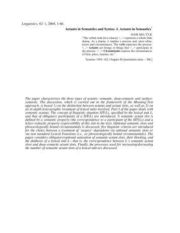 Linguistics, 42: 1, 2004, 1-66. Actants in Semantics and Syntax. I ...
