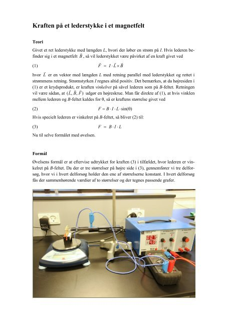 Kraften på en leder i et magnetfelt - matematikfysik