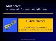 MathNet - A network for mathematicians - Elfikom WWW-Server