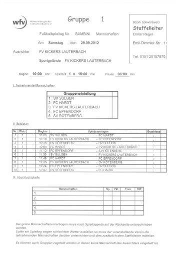 Spielplan - Jugendfussball Bezirk Schwarzwald