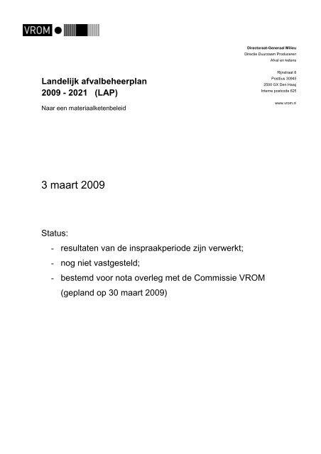 Beleidskader Landelijk afvalbeheerplan 2 (LAP2)