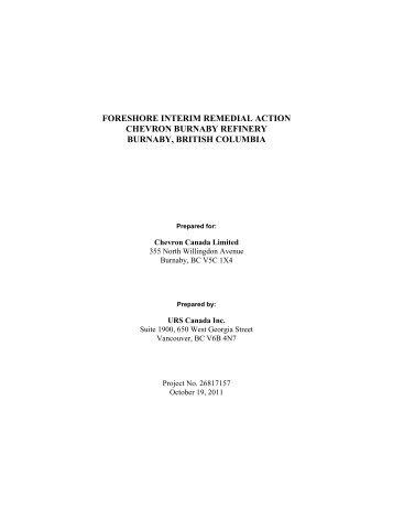 Foreshore Interim Remedial Action Report (IRA), Oct ... - Chevron CAP